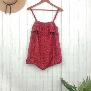 torrid | Red Print Ruffle Front Blouse Size 0X